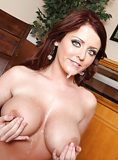 Busty milf with sexy blue eyes Sophie Dee gets a big cock in her mouth and shaved pussy