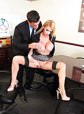 Irresistable blonde goddess with huge tits and sexy face Taylor Wane fucked on her workplace