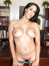 Marvellous business woman Isis Love bares her big boobs and sweet snatch