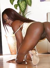 Ravishing Ebony Jada Fire with large tits spreading her cryptic huge butt