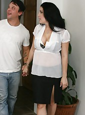 Black haired milf with big tit, pierced nipples and hot temperament Priscilla fucks young man