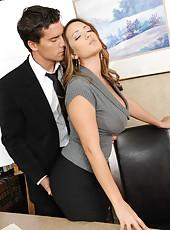 Super-busty milf Trina Michaels enjoys hot tit-cumshot after anal pounding