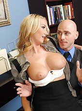 Busty blonde milf with miniature bald pussy Blake Rose fucked by a powerful big cock