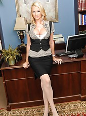 Busty, horny and beautiful milf Blake Rose spreads her sexy legs in hot stockings