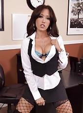 Aesthetic and elegant-looking brunette milf Capri Cavanni in gorgeous lingerie