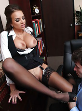 Voluptuous milf with boundless breast Nika Noire wants to sing a contract and uses her charms
