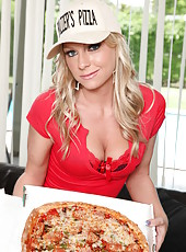Hot Britney Brooks brought fresh pizza and perfectly shaped big tits