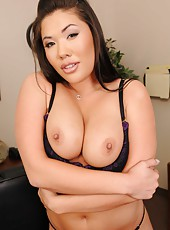 Sexy Asian milf London Keyes, her big tits and tiny shaved pussy