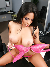 Beautiful milf with big boobs and pretty smile Jenaveve Jolie gets naked in the office