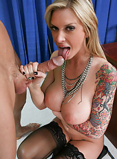 Top-class milf with hot tattoos, big boobs and charming face Brooke Banner is shows the action