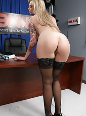 Charming lovely Brooke Banner with sexy tattoos, big boobs and perfect ass