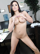 Petite and busty brunette with fuckable ass Eva Angelina spreads her sweet hips
