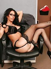 Brunette office lady in provocative black lingerie Mya Nichole strips amazingly