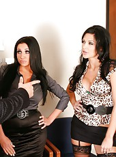 Two bewitching brunettes Aletta Ocean and Audrey Bitoni meet powerful big cock
