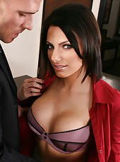 Incredibly hot brunette milf Juelz Ventura got office facial by her big dicked lover