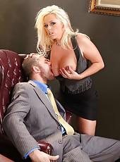 Gorgeous blonde milf Brittney Skye makes boss wild with her tempting big boobs