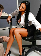 Horny office lady Audrey Bitoni turns this break with her colleague into wild fucking scene