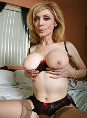 Mature blonde with big breast Nina Hartley fucked by young boy in sexy lingerie