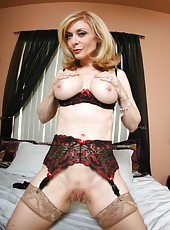 Sweet striptease scene by busty mature blonde in sexy lingerie Nina Hartley