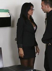 Black haired milf in sexy lingerie Lezley Zen gets fucked in the conference room