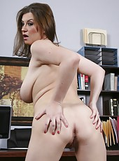 Appetizing milf Sara Stone takes off her sexy lingerie and treats with her big boobs