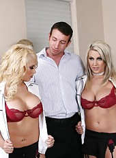 Hardcore threesome with horny blondes named Kagney Linn Karter and Maddi Sinn