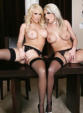 Crazy lesbian action with sexy blondes named Kagney Linn Karter and Maddi Sinn