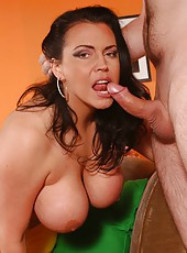 Hot action in which passionate brunette Angelica Sin gives a great blowjob