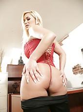 Beautiful action in which sexy blonde babe Shyla Stylez shows her juicy hole