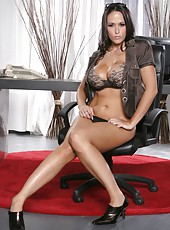 Beautiful brunette milf Carmella Bing undresses like a goddess