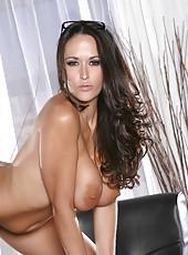 Beautiful brunette milf Carmella Bing undresses like a goddess