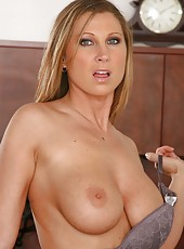 Sexy girl Devon Lee demonstrates her juicy pussy and tasty tits