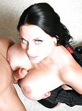 Ultra big tits by amazing mature brunette Harley Rain that loves to fuck in the office
