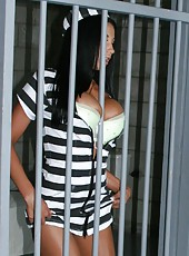 Sweet prison action with Glamorous mistress Audrey Bitoni and lucky guard