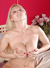 Blonde milf with huge natural boobs Devon Lee gets her pussy licked and her tits fucked