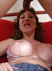 Busty milf with great shaved pussy Ava Devine meets chocolate skinned big cock