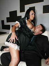 Busty brunette cleaner Mariah Milano seduces lucky man, sucks and rides his cock