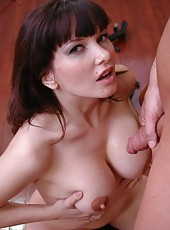 Brunette milf with big tits and delicious nipples Carrie Ann gets oiled and fucked hot