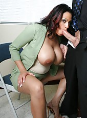Excellent milf Ava Lauren makes him wild with her incredible tits right in the office