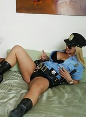 Sexy cop Sarah Vandella came to check her ex boyfriend