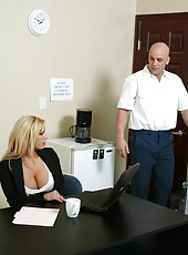 Buxom business lady Shyla Stylez penetrated at her table by a huge dick