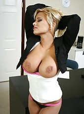 Excellent blonde Shyla Stylez shows off her beautiful shaved pussy in favorite poses
