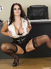 Femme fatale Mackenzee Pierce strips in her office maddening us