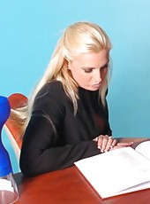 Bewitching secretary Emilianna was working hard all day long and needs a relaxation
