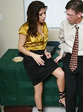 Petite milf Sativa Rose takes her modest colleague