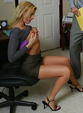 Rich business women Darryl Hanah and Sara Jay in the threesome action with lucky man