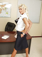 Slender milf bombshell Puma Swede shows off her charming big tits and hot pussy