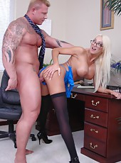 Extremely sweet blonde bombshell Donna Doll is not against of hot fuck in the office