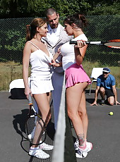 Busty and sweet babes Abbie Cat and Yuffie Yulan fucked in every holes at the tennis court