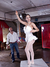 Gorgeous and buxom ballerina Aleska Diamond got a dick in her elegant pale pussy